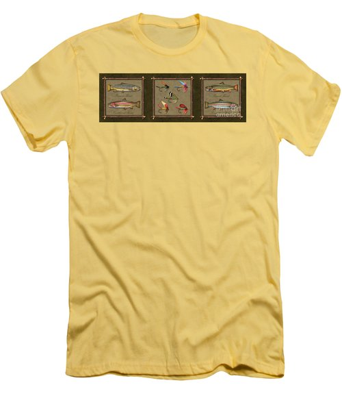 Trout Fly Panel Men's T-Shirt (Slim Fit) by Jon Q Wright