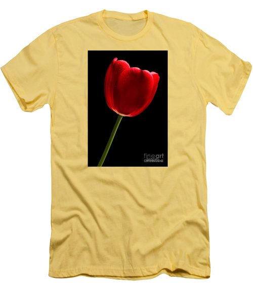 Men's T-Shirt (Athletic Fit) featuring the photograph Red Tulip No. 2 By Flower Photographer David Perry Lawrence by David Perry Lawrence