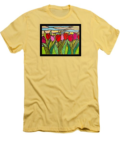 Tulips At Sunrise Men's T-Shirt (Slim Fit) by Jim Harris