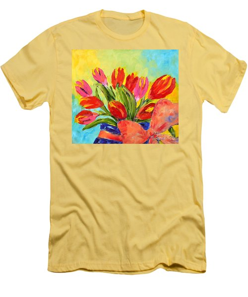 Tulips Tied Up Men's T-Shirt (Slim Fit) by Lynda Cookson