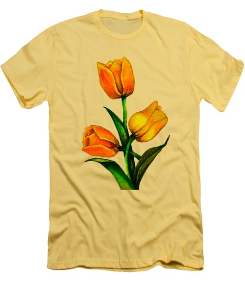Tulips Men's T-Shirt (Slim Fit) by Zina Stromberg