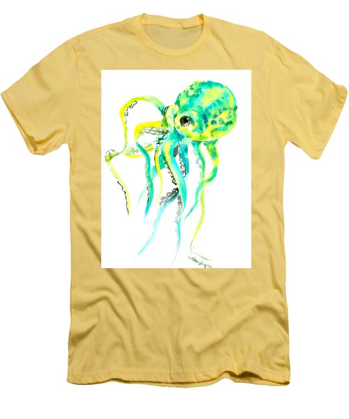 Turquoise Green Octopus Men's T-Shirt (Athletic Fit)
