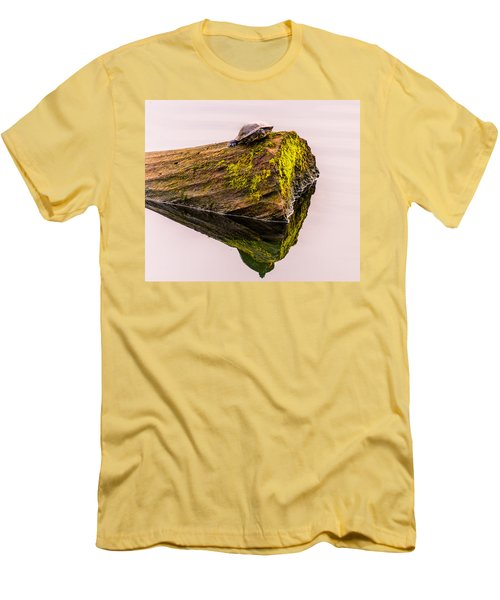Turtle Basking Men's T-Shirt (Slim Fit) by Jerry Cahill