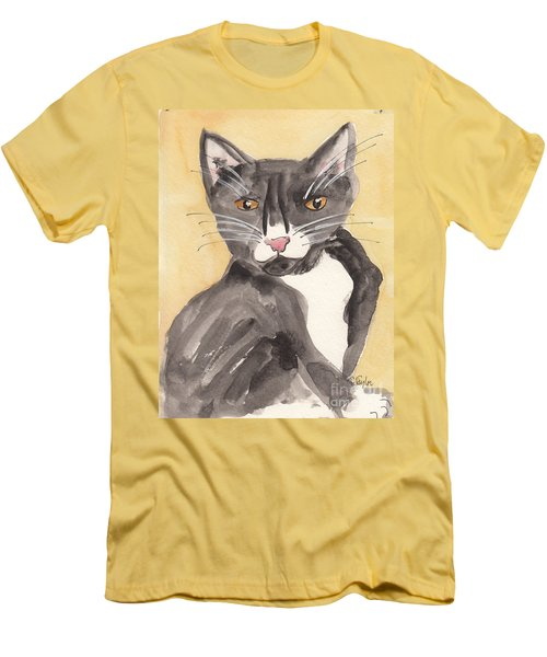 Tuxedo Cat With Attitude Men's T-Shirt (Slim Fit) by Terry Taylor