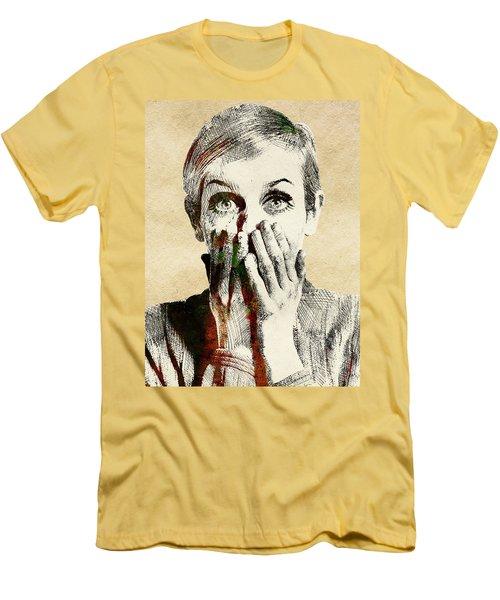 Twiggy Surprised Men's T-Shirt (Slim Fit) by Mihaela Pater