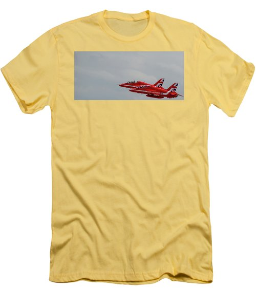Men's T-Shirt (Athletic Fit) featuring the photograph Twin Red Arrows Taking Off - Teesside Airshow 2016 by Scott Lyons