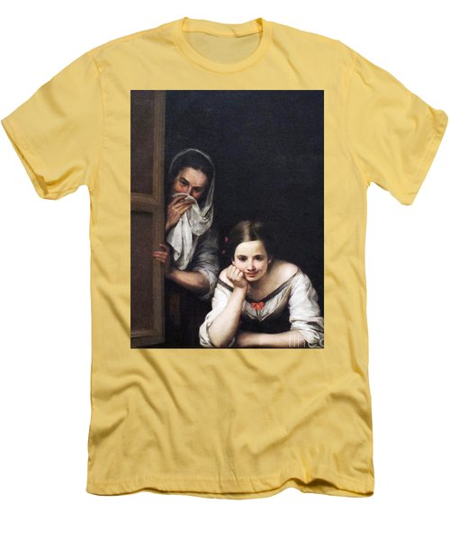 Men's T-Shirt (Slim Fit) featuring the painting Two Women At Window by Pg Reproductions