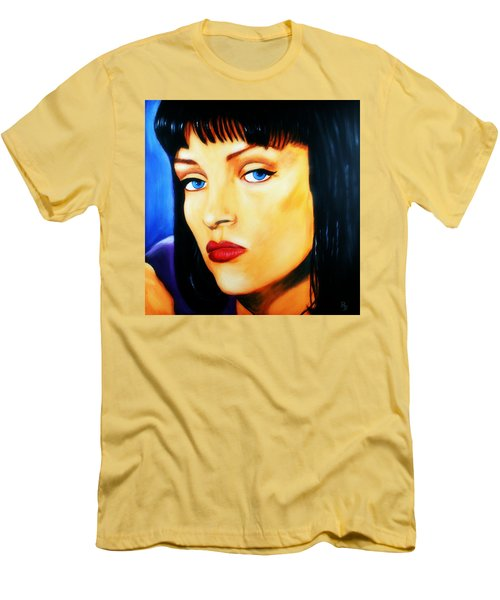 Men's T-Shirt (Athletic Fit) featuring the painting Uma Thurman In Pulp Fiction by Bob Baker