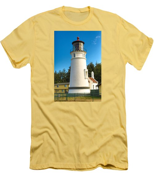 Men's T-Shirt (Slim Fit) featuring the tapestry - textile Umpqua River Lighthouse by Dennis Bucklin