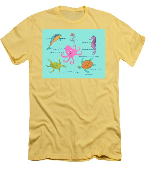 Under The Sea, Pink Octopus Men's T-Shirt (Athletic Fit)