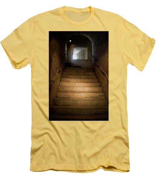 Up The Ancient Stairs Men's T-Shirt (Slim Fit) by Lorraine Devon Wilke
