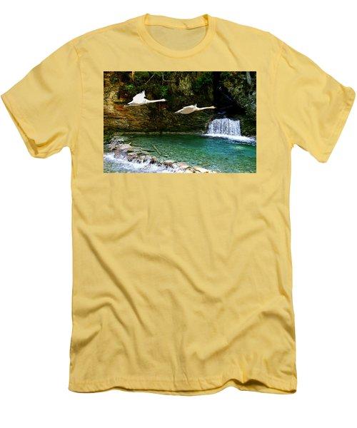 Upper Margaret Falls Men's T-Shirt (Slim Fit) by Ed Hall