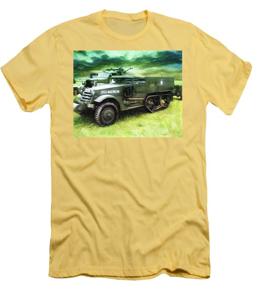 Men's T-Shirt (Slim Fit) featuring the painting U.s. Army Halftrack by Michael Cleere