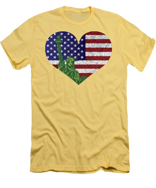 Usa Heart Flag And Statue Of Liberty Men's T-Shirt (Slim Fit) by Jit Lim