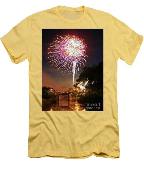 Men's T-Shirt (Slim Fit) featuring the photograph Utica Fireworks by Paula Guttilla