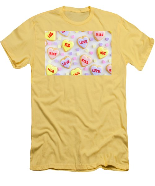 Men's T-Shirt (Slim Fit) featuring the photograph Valentine Heart Cookies by Teri Virbickis