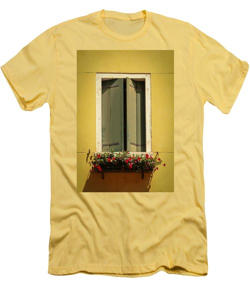 Men's T-Shirt (Slim Fit) featuring the photograph Venice Window In Green by Kathleen Scanlan