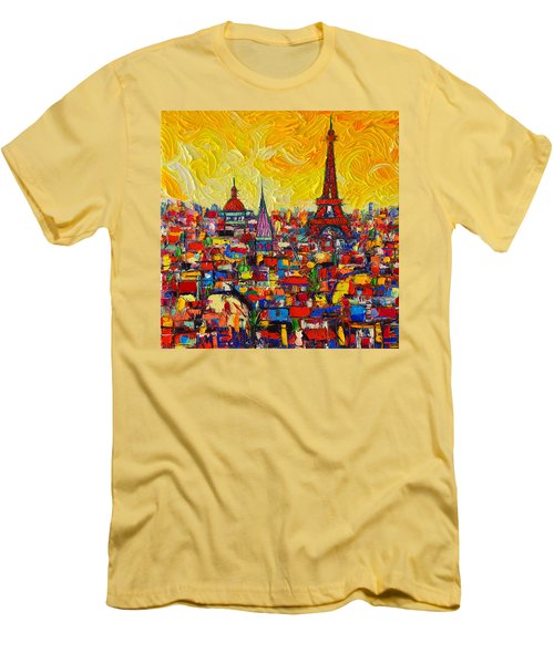 Vibrant Paris Abstract Cityscape Impasto Modern Impressionist Palette Knife Oil Ana Maria Edulescu Men's T-Shirt (Athletic Fit)