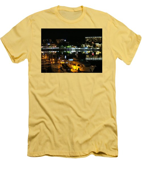 Victoria Inner Harbor At Night Men's T-Shirt (Slim Fit) by Betty Buller Whitehead