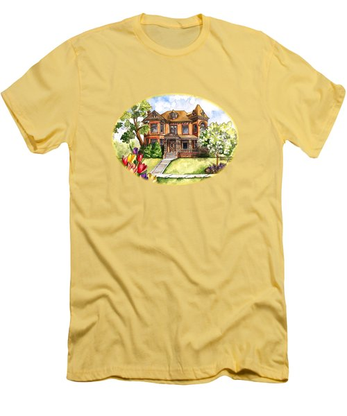 Victorian Mansion In The Spring Men's T-Shirt (Slim Fit) by Shelley Wallace Ylst