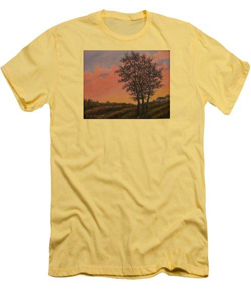 Men's T-Shirt (Slim Fit) featuring the painting Vineyard Sundown by Kathleen McDermott