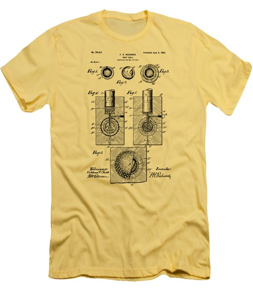 Vintage 1902 Golf Ball Patent Artwork Men's T-Shirt (Slim Fit) by Nikki Marie Smith