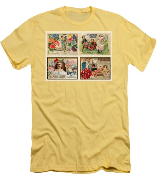 Men's T-Shirt (Slim Fit) featuring the drawing Vintage Flower Seed Packets by Peggy Collins