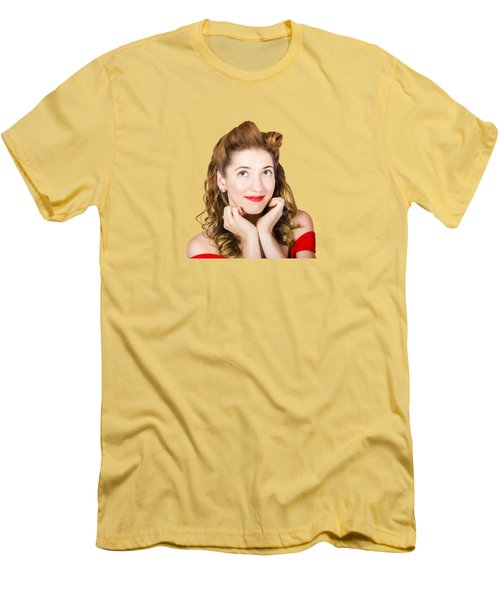 Vintage Makeup Photo Of Cute Smiling Blonde Girl Men's T-Shirt (Athletic Fit)