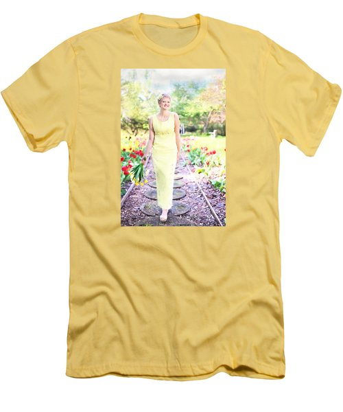 Vintage Val In Tulips Men's T-Shirt (Athletic Fit)