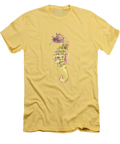 Violet Green Seahorse Men's T-Shirt (Slim Fit) by Amy Kirkpatrick