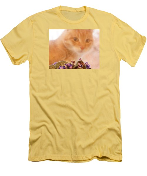 Violets With Cat Men's T-Shirt (Athletic Fit)