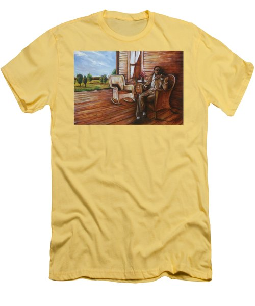 Men's T-Shirt (Slim Fit) featuring the painting Violin Man by Emery Franklin