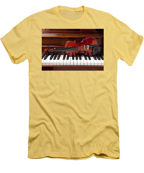 Violin On Piano Men's T-Shirt (Slim Fit) by Garry Gay