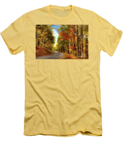 Men's T-Shirt (Slim Fit) featuring the painting Vivid Autumn In The Blue Ridge Mountains Ap by Dan Carmichael