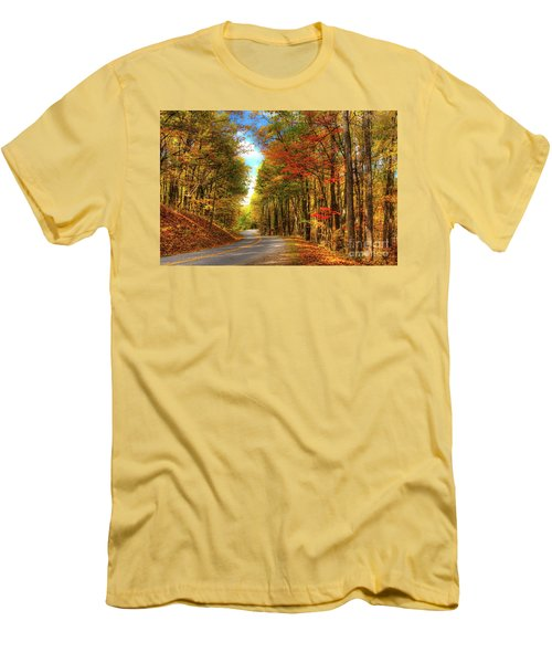 Vivid Autumn In The Blue Ridge Mountains Men's T-Shirt (Slim Fit) by Dan Carmichael