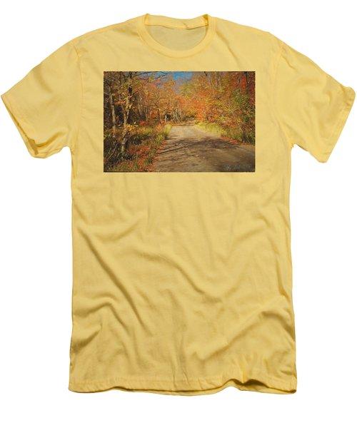 Men's T-Shirt (Slim Fit) featuring the digital art Vt.rte. Fifty Eight Hazen  Notch by John Selmer Sr