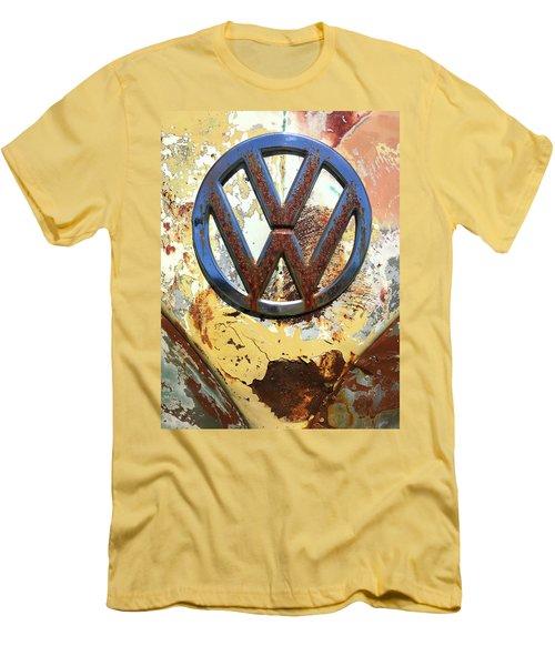Vw Volkswagen Emblem With Rust Men's T-Shirt (Slim Fit) by Kelly Hazel
