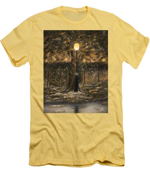 Men's T-Shirt (Slim Fit) featuring the painting Waiting For The Snow by Veronica Minozzi
