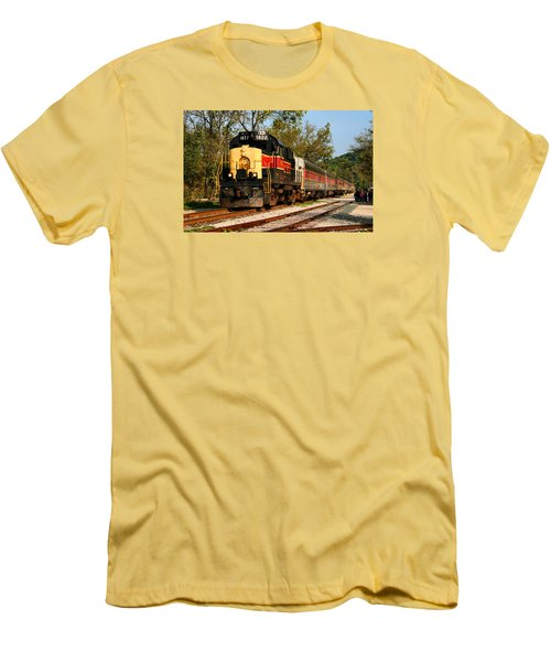 Waiting For The Train Men's T-Shirt (Slim Fit) by Kristin Elmquist