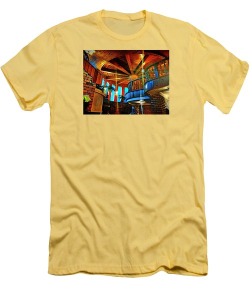 Men's T-Shirt (Slim Fit) featuring the photograph Wallaceville House's Rustic Balcony by Kathy Kelly