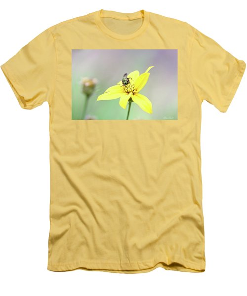 Men's T-Shirt (Athletic Fit) featuring the photograph Wasp On Coreopsis by Trina Ansel