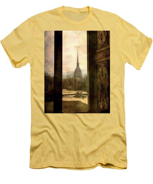 Watching Antonelliana Tower From The Window Men's T-Shirt (Slim Fit) by Vittorio Chiampan