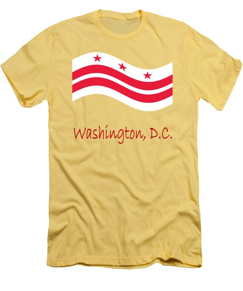 Waving District Of Columbia Flag And Name Men's T-Shirt (Athletic Fit)