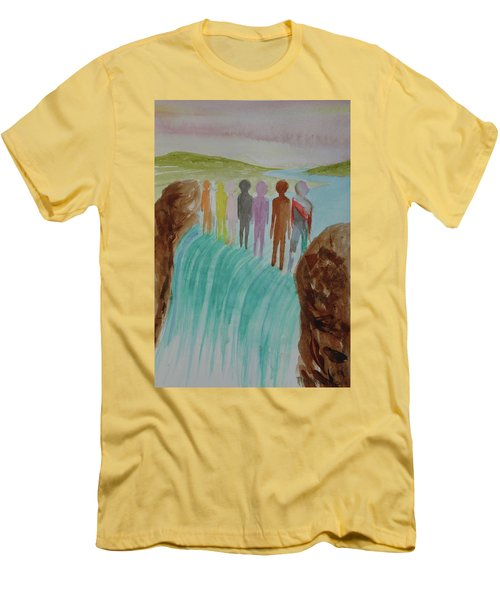 Men's T-Shirt (Slim Fit) featuring the painting We Are All The Same 1.2 by Tim Mullaney