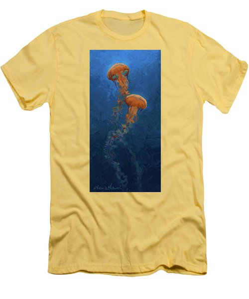 Men's T-Shirt (Slim Fit) featuring the painting Weightless - Pacific Nettle Jellyfish Study  by Karen Whitworth