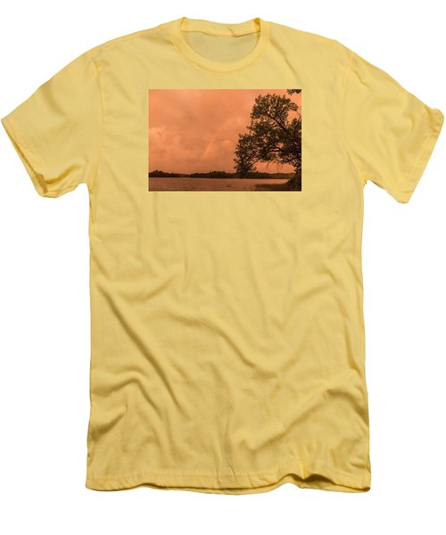 Strange Orange Sunrise With Rainbow Men's T-Shirt (Athletic Fit)