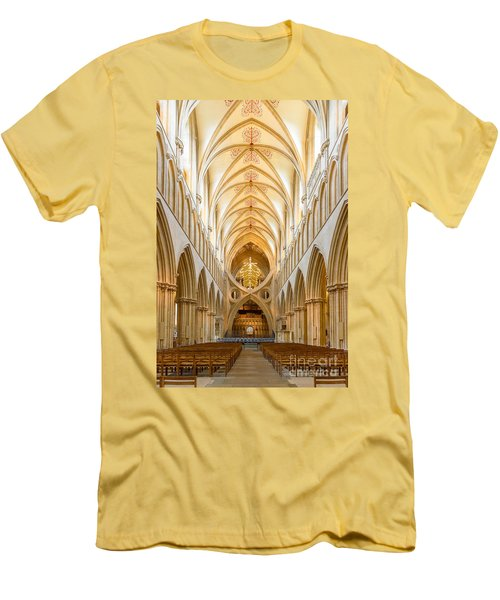 Wells Cathedral Nave Men's T-Shirt (Slim Fit) by Colin Rayner