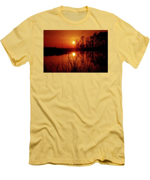 Men's T-Shirt (Slim Fit) featuring the photograph Wetland Sunset by Robert Geary