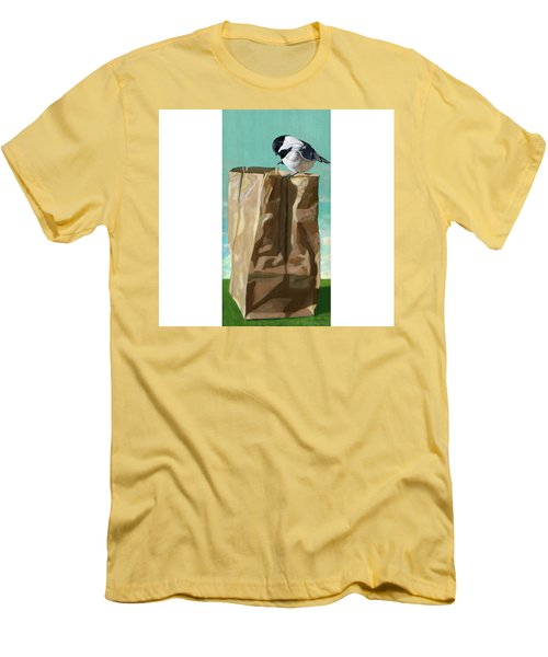 Men's T-Shirt (Slim Fit) featuring the painting What's In The Bag Original Painting by Linda Apple