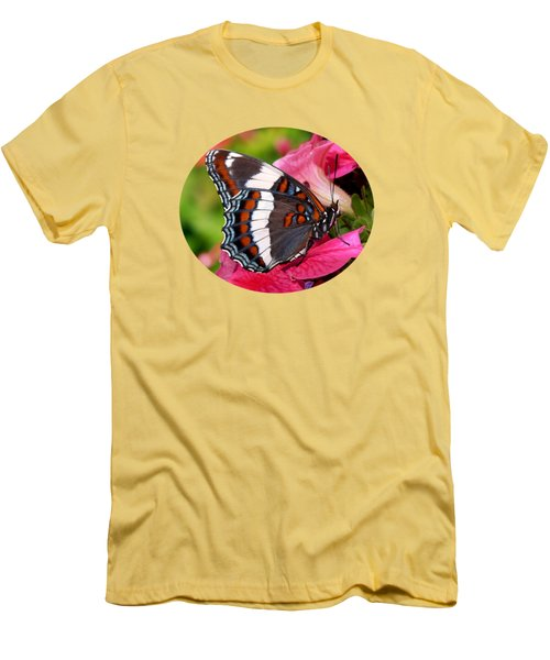 White Admiral Butterfly On Pink Flowers Men's T-Shirt (Slim Fit) by Christina Rollo